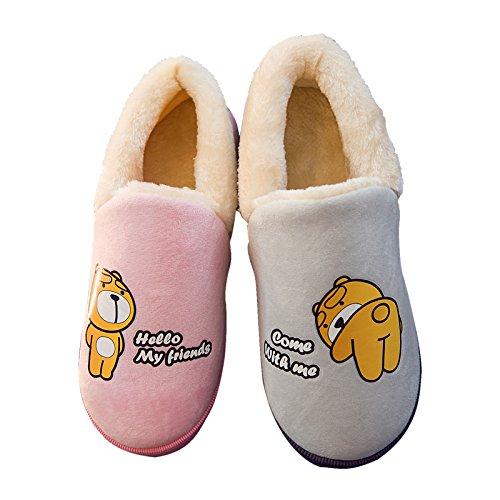 CWAIXXZZ pantofole morbide Pantofole di cotone femmina spessa coperta, antiscivolo con caldo inverno seguita da un soggiorno nel pacchetto con il vello giovane inverno uomini e ,40-41 (39, 40) muniti