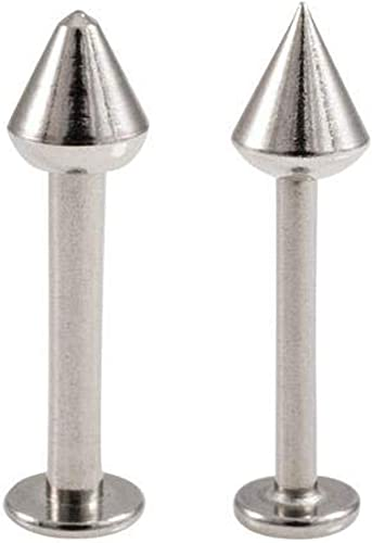 16g Bubble Body Piercing Surgical Steel Internally Threaded Micro Labret with Disc Gauge