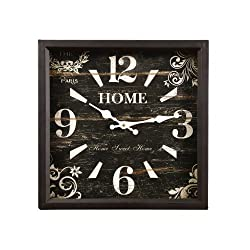 Adeco CK0066 CK0066 Distressed Black Vintage-Inspired Square Wall Hanging Clock, Home Scroll and Flower Detail Home Decor, Black