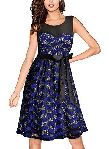 Miusol Women's Vintage Floral Lace Contrast Bow Wedding Bridesmaid Dress,Blue,XX-Large