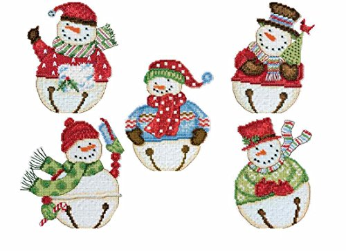 Snowbells Beaded Counted Cross Stitch Snowmen Ornaments Kits Mill Hill Debbie Mumm 2014 (Set of 5: Flurry, Frank, Freezy, Jangle, Jingle)