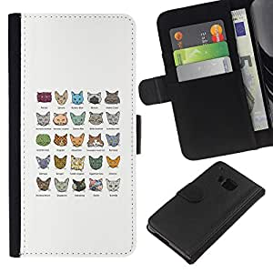 BearCase / Cuero de la tarjeta la carpeta del tirón Smartphone Slots Protección Holder /// HTC One M7 /// Castas del gato angora turco Mau egipcio