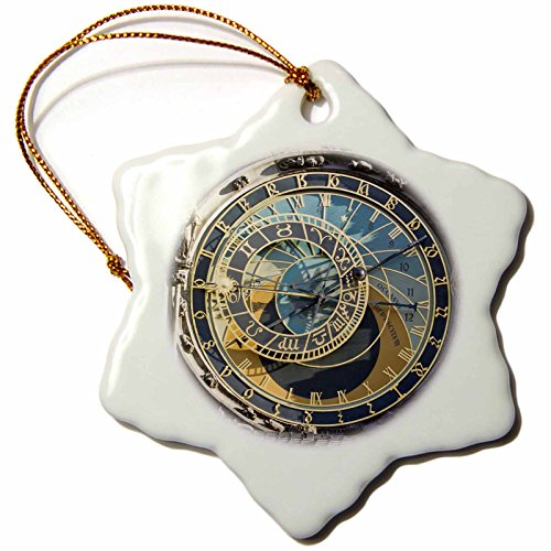- 3dRose orn_81259_1 Astronomical Clock, Orloj, Prague, Czech RepubLIc Eu06 Tha0021 Tom Haseltine Snowflake Ornament, Porcelain, 3-Inch