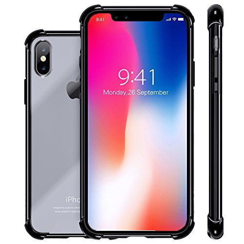 Hard Back Iphone - iPhone X Case, Clear Slim Hybrid Cute Armor Protective Reliable Heavy Duty Drop-Proof Full Body Shockproof Flexible Tpu Hard PC Back Hybrid Defender Non-Slip Case Cover for Apple i-Phone X Jet-Black