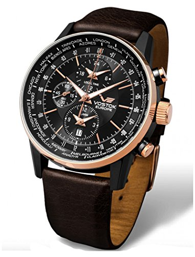 Vostok-Europe - Gaz Limo World Timer Alarm Rosegold Dark Brown Leather Watch - YM26/5603255