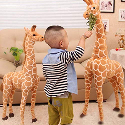 ATA19 - Stuffed Animals - Cute Huge Giraffe Plush Toys Lifelike Cartoon Animals Stuffed Dolls Real Simulation Yellow Deer Soft Toys Birthday Gift Kids Toy
