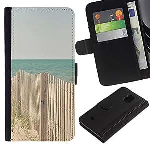 Billetera de Cuero Caso Titular de la tarjeta Carcasa Funda para Samsung Galaxy S5 Mini, SM-G800, NOT S5 REGULAR! / Beach Ocean Blue Sand Seashore / STRONG