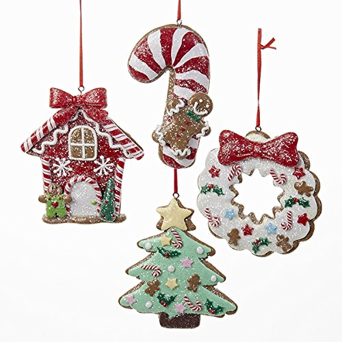 Ornament Wreath House (Kurt Adler 1 Set 4 Assorted Clay Dough 4 Inch Christmas Cookie Christmas Tree, Candy Cane, House And Wreath Ornaments)