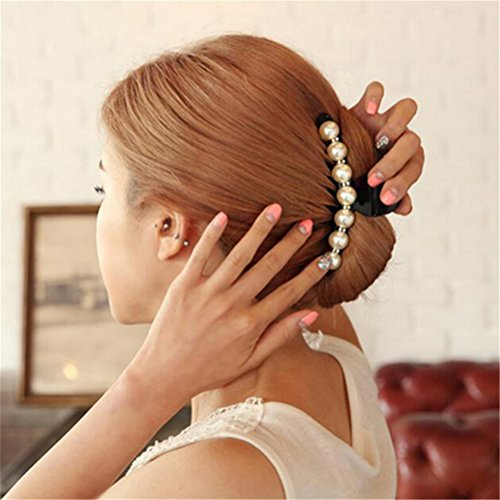 WWahuayuan 1Pcs Crystal Pearl Hair Clip Black Claw Clip Pin for Women/Baby Party Festival Rhinestone Hairpin Barrettes Accessories (Clip Claw Jewelry)
