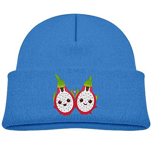 Children Dragon Fruit Unisex Winter Warm Knit Hat Cute Soft Stretch Lined Beanie Cap Royalblue