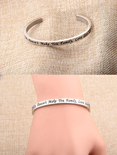 FEELMEM Stepdaughter Bangle DNA Doesn't Make You Family Love Does Cuff Bangle Bracelet,Family Jewelry Gift for Adopted Child Step Child Stepdaughter (DNA Doesn't.-Silver) by FEELMEM (Image #2)