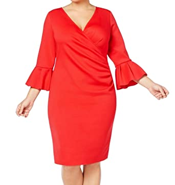 baa28c540 Image Unavailable. Image not available for. Color: Betsy & Adam Womens  Plus-Size Bell-Sleeve Scuba Wrap Dress ...