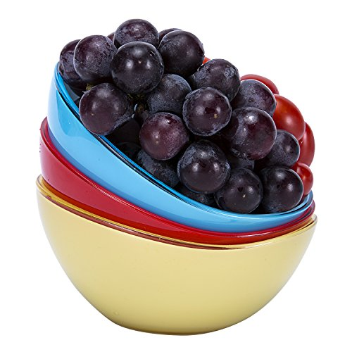 Plastic Serving Bowls in Oval Shape,Wecye BPA-Free Kicthen Fruit Bowl,Salad Bowl,Mixing Bowls, Cereal Bowls,Candy Dish,Set of 3 (0.45quart)