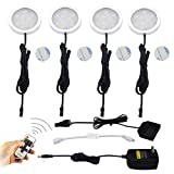 Aiboo LED Under Cabinet Lighting Kit,4X2W LED Puck Lights with RF Wireless Dimmable Controller and US Plug for Kitchen Lighting Accent Lighting (Day White 5000K)