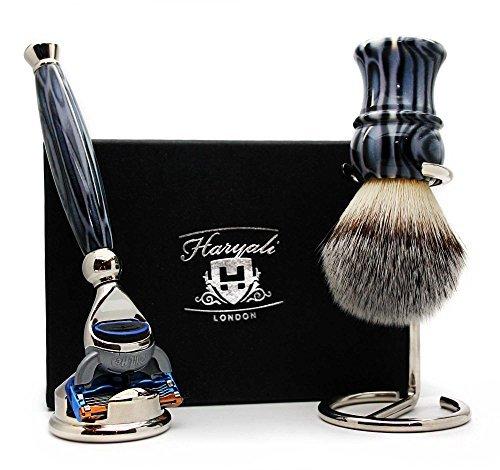 Synthetic Hair Shaving Brush, Gillette Fusion Razor, Razor Stand & Brush Stand.