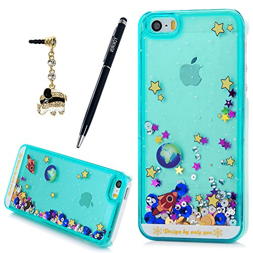 [iPhone SE Case, iPhone 5S/5 Case, YOKIRIN 3D Creative Glitter Bling Quicksand & Adorable Flowing Floating Moving Star Fish Liquid Bright Shine Hard PC Protective Cover] (Simple Creative Costumes)