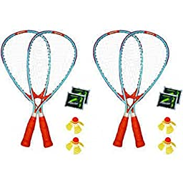 New 4-Player Racket FUN Outdoor Set, Wind/Water Resistant+The Glow in The Dark Option, Multicolored