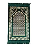 Lopkey Middle East Carpet Islamic Prayer Blanket Rugs Prayer Mat 26 x 43 Inch,Green