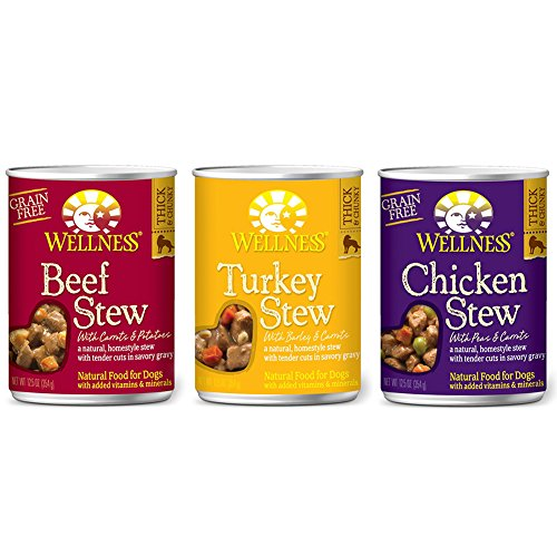 Cheap Wellness Stew Wet Canned Dog Food Variety Bundle – 3 Flavors (12 Pack)