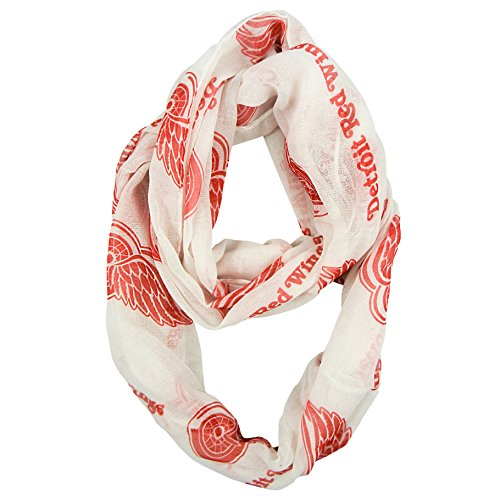 NHL Detroit Red Wings Sheer Infinity Scarf, One Size, White