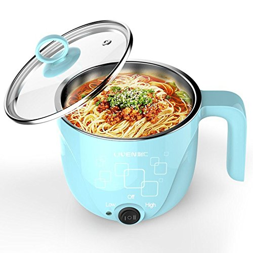 1L LIVEN Electric Hot Pot with 304 Stainless Steel Healthy Inner Pot, Cook noodles and boil eggs easy,Small Electric Cooker 600W 120V HG-X1000BL …