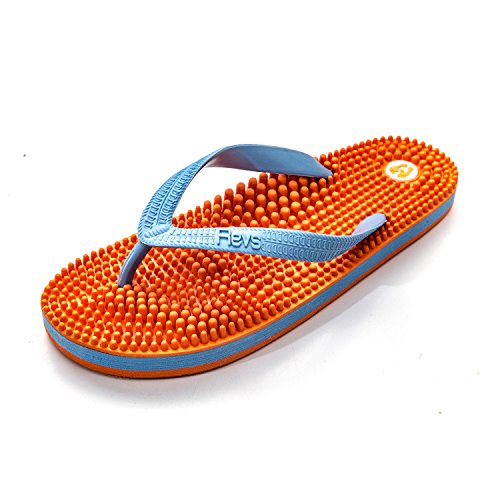 Revs Premium Acupressure & Reflexology Massage Flip Flops in Orange & Blue, Vegan, Unisex. Wear for Better Health, Pain Relief, Recovery.