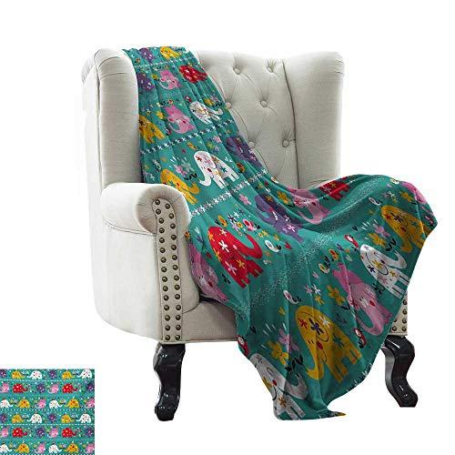 LsWOW Baby Blanket Yarn Elephant Nursery,Joyful Kids Pattern Festive Colorful Animals Happy Flowers Funny Nature,Multicolor Super Soft Faux Fur Plush Decorative Blanket 70