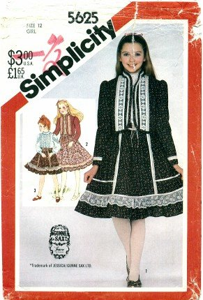 Simplicity Pattern 5625 Gunne Sax Girls' Skirt, Blouse and Quilted Jacket, Size 12 -