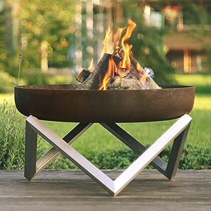 Rust U0026 Stainless Steel Modern Outdoor Patio Fire Pit MEMEL (Medium)