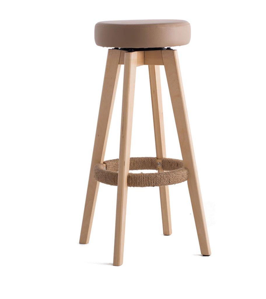 椅子、ソリッドウッドバーチェアバーチェアハイスツールホームソリッドウッドバースツールモダンシンプル回転ヨーロッパスタイルロング45cm×幅45cm×高さ65.5cm ( 色 : ブラウン ぶらうん , サイズ さいず : HIGH65.5cm ) B076HG4PXC