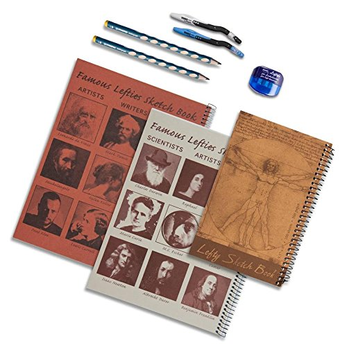 Counter Clockwise Barrel (Left-Handed Sketch Books, Maped Pen, Stabilo Pencil and KUM Counter-clockwise Sharpener Set, 8 Pieces)