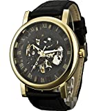 Sewor Men's Mechanical Roman Numeral Display Leather Wrist Watch Big Style 46mm (Gold Black)