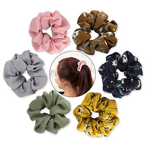 Scrunchies for Hair, Funtopia Chiffon Flower Hair Scrunchies Elastic Hair Bands Scrunchy Hair Ties Ponytail Holder for Women & Girls, Including 3 Flower Scrunchies & 3 Solid Colors Chiffon Scrunchies