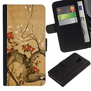 Paccase / Billetera de Cuero Caso del tirón Titular de la tarjeta Carcasa Funda para - Tree Branch Flowers Blossoming Red Brown - Samsung Galaxy S5 Mini, SM-G800, NOT S5 REGULAR!