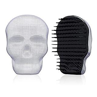 Tangle Angel Detangling Brush for Thick Thin Curly,Wet or Dry Hair, Skull Design Hair Massage Brush,Anti Static Detangler Brush for Women & Men(110mm,White)