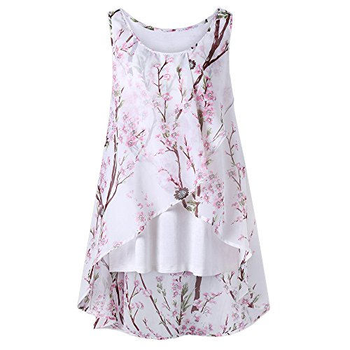 HIRIRI Women's Sleeveless Chiffon Tank Top Double Layers Casual Flowy Tunic Hi-Low Hem T-Shirt Blouse -