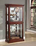 Brand New 33'' x 16'' x 70''H Vintage Look Cherry Wood Finish Curio Cabinet