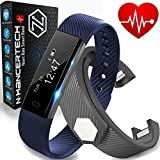 Fitness Tracker with Heart Rate Monitor - Smart Watch Pedometer Wristband - iPhone IOS and Android Bluetooth Compatible – Blue & Bonus Black Band - Water Resistant HR Walk Sports Sleep - N-HancerTech