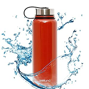 WELLAND Vacuum Insulated Stainless Steel Water Bottle Perfect for Outdoor Sports Hiking Camping Biking (Dark Red)