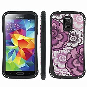 [ArmorXtreme] Prime Hybrid Armor Design Image Protect Case (Pink Purple Flower) for Samsung Galaxy S5
