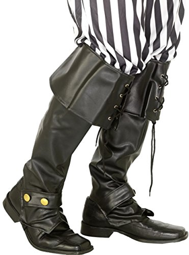 Smiffys Adult Unisex Pirate Boot covers, Black, One Size, -