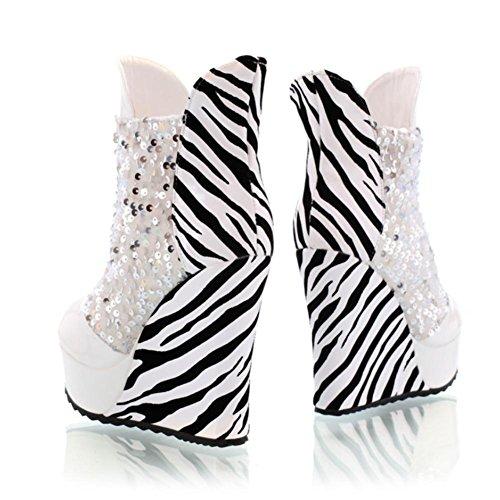 premium casual tacones punta altos estilo redonda de rayas Zapatos PU cuñas mujer white 11CM 4U® lentejuelas Best Botines IFaxfCI