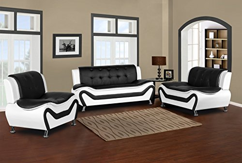 Container Furniture Direct S5411-3PC Arul Leather Air Upholstered Mid Century Modern Set with 77.5