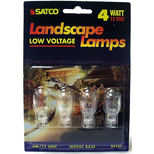 Satco S4551 4pcs/card 4 Watt T5 miniature, Mini Wedge base, 12 volts (Pack of 19)
