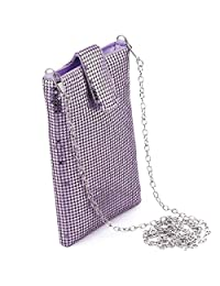 JUANALINE Evening Handbags Clutch Purses for Women Metal mesh Small Crossbody Bag Cell Phone Purse Wallet