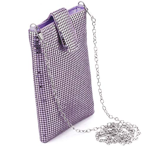 Evening Purses Clutch Bag for Women Metal Mesh Small Shoulder Purse For Cell Phones Wallet Crossbody Bag In Light Purple