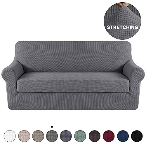 Grey Sofa Slipcover Couch Cover 2 Piece With Separate Cushion Cover 3 Seater Couch Slipcover Stretch Stylish Furniture Cover/Protector with Spandex Jacquard Small Check (Sofa, Charcoal Gray) (Slipcover Couch Gray)