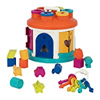 Battat - Shape Sorter House - Color and Shape Sorting Toy with 6 Keys and 12 Shapes for Toddlers 2 years + (14-Pcs)