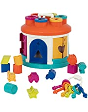 Battat – Shape Sorter House – Color and Shape Sorting Toy with 6 Keys and 12 Shapes for Toddlers 2 years + (14-Pcs), Model:BT2622C1Z