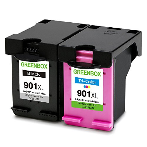 GREENBOX Remanufactured Ink Cartridge for HP 901 901XL High Yield Used in HP Officejet 4500 J4500 J4524 J4535 J4540 J4550 J4580 J4660 J4680 J4680C G510a G510g Printer (1 Black, 1 Tri-Color)
